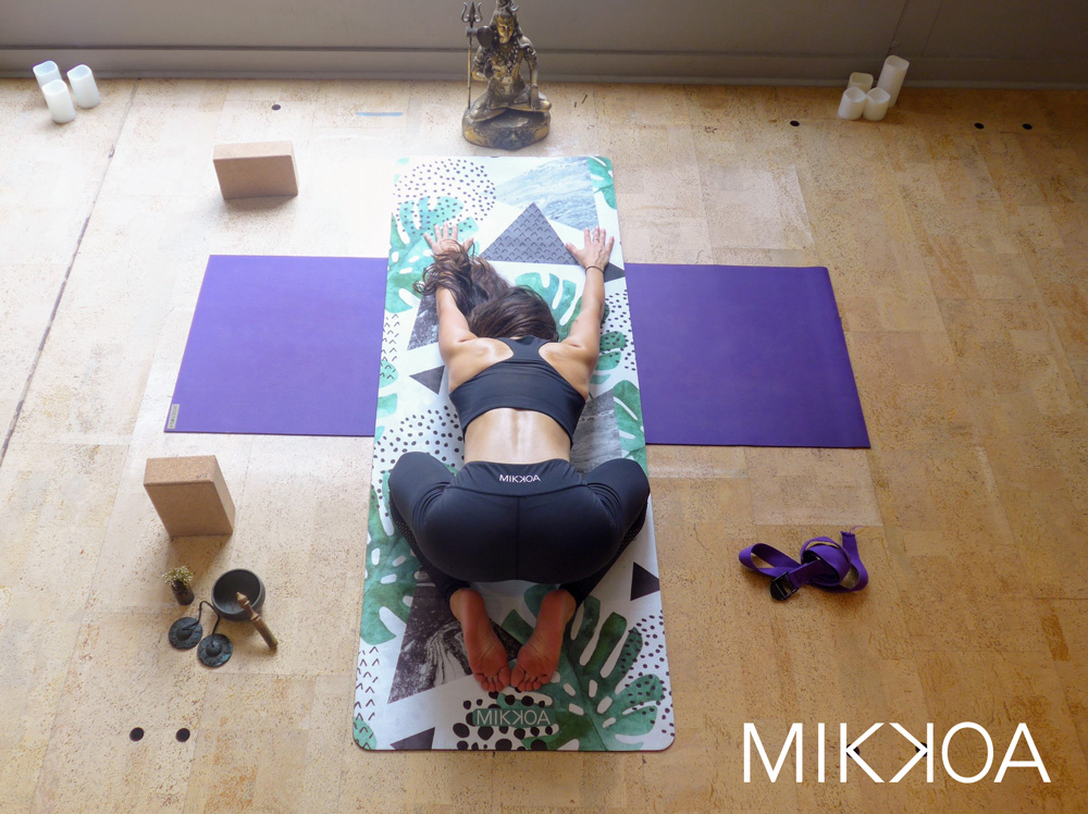 mikkoa yoga wear, yoga mat in yoga studio, girl in yoga apparel, colleen keith design, client victory list 2018