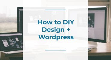 how to diy design and wordpress blog post feature image, colleen keith design, text on a picture of computer screens with graphic design on them