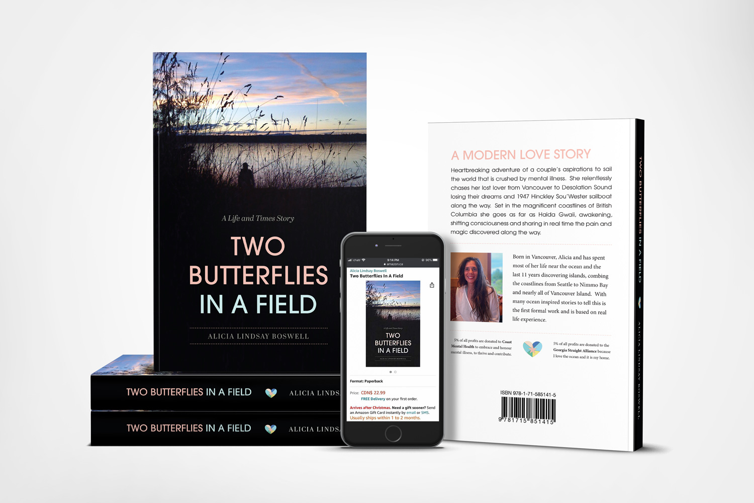Book Cover and Interior Layout, Two Butterflies in a Field by Alicia Boswell